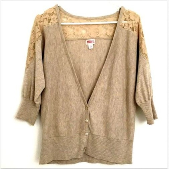 Mossimo Supply Co. Sweaters - Mossimo Cardigan Tan Sweater Lace Shoulder